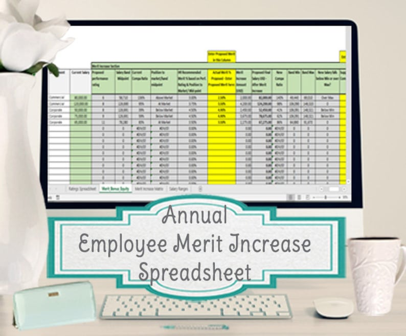 Annual Employee Merit Increase Spreadsheet, Excel Template for a Merit  Increase Matrix
