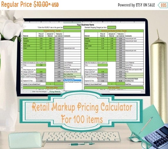 retail markup calculator markup pricing formula excel margin etsy
