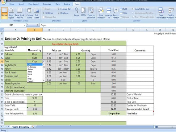 bake sale pricing calculator with kitchen conversions how to etsy