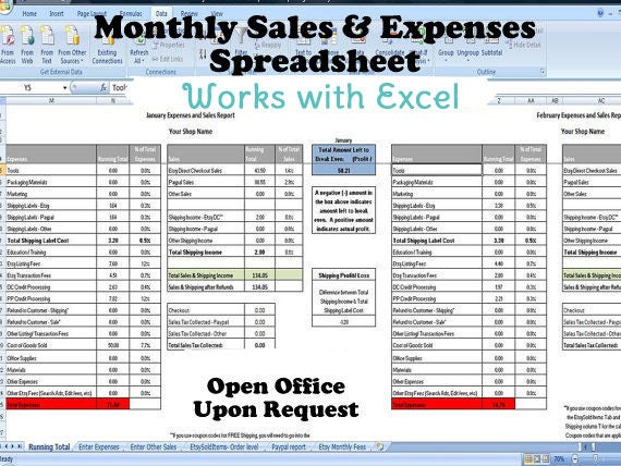 Monthly Sales And Expenses Spreadsheet Summarizes Etsy Paypal Csv S