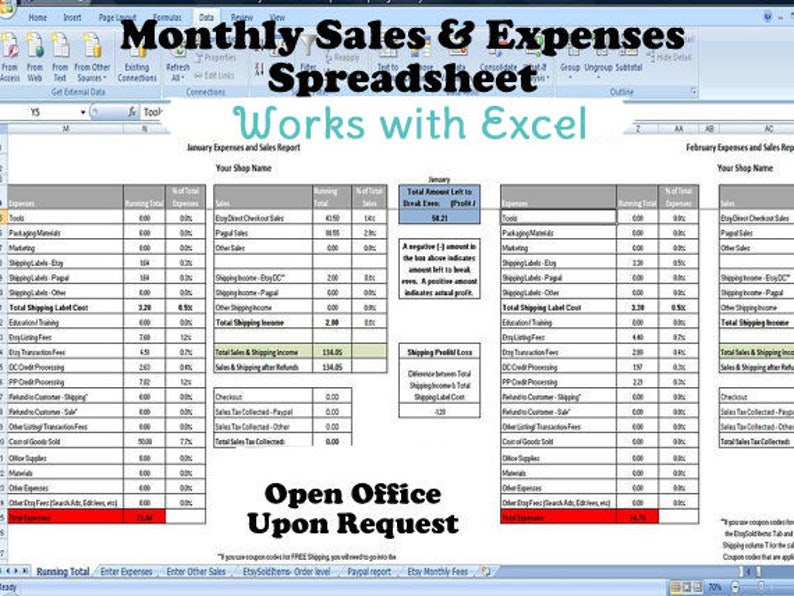 Monthly Sales and Expenses Spreadsheet - Summarizes Etsy & Paypal CSV's