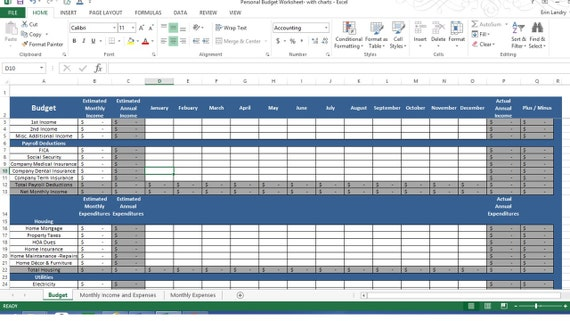 Budget Spreadsheet Personal Expense Spreadsheet Template | Etsy