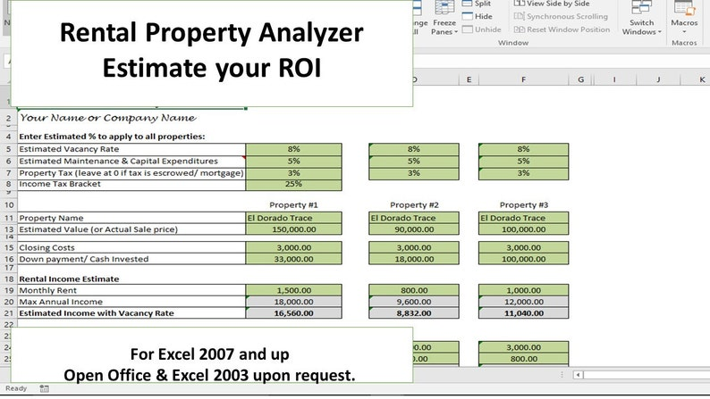 Investment Property Analyzer, Rental Property Calculator, Investment  Property ROI