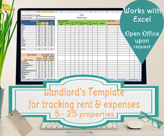 landlords spreadsheet template rent and expenses spreadsheet etsy