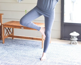 Women's Organic Cotton Leggings - High Waisted Yoga Leggings  / 8 Organic Solids  XS to 2X / Sustainable Clothing / Eco Michigan USA Made