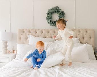Kids Organic Cotton Pajama Lounge Sets / NEW 8 Colors / Soft Matching Sibling Pajamas / Toddler Pajama Set / Eco Baby Pajamas / Boy Girl PJs