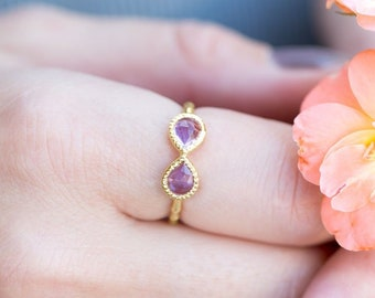Amethyst Infinity Ring in 14K Yellow Gold Plated Sterling Silver