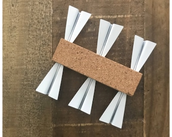Paper Plane Pushpins - Set of 6 Paper Plane Shaped Pins for Adventure Travel Cork Maps | Pin Boards | Bulletin Boards