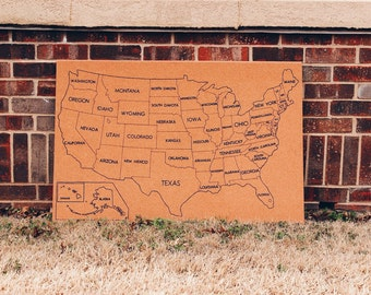 Large United States Corkboard Map with State Names USA Cork Map Hand Lettered Pin Board Gift for Teacher Educational Classroom Office Travel