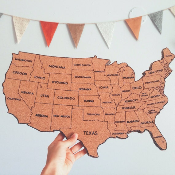 Items similar to United States Corkboard Map with State Names USA