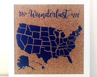 United States Corkboard Map USA Cork Map Pin Board Gifts for Teachers Educational Classroom Map Office Travel Wanderlust