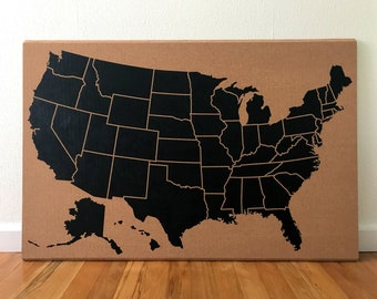 Large United States Corkboard Map USA Cork Map Hand Lettered Pin Board Gift for Teacher Educational Classroom Office Travel