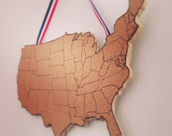 United States Corkboard Map USA Cork Map Pin Board Gifts for Teachers Educational Classroom Map Office Travel Geography