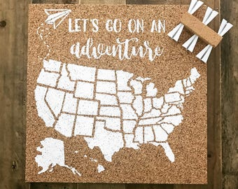 United States Corkboard Map USA Cork Map Pin Board Gifts for Teachers Educational Classroom Map Office Travel Wanderlust Adventure