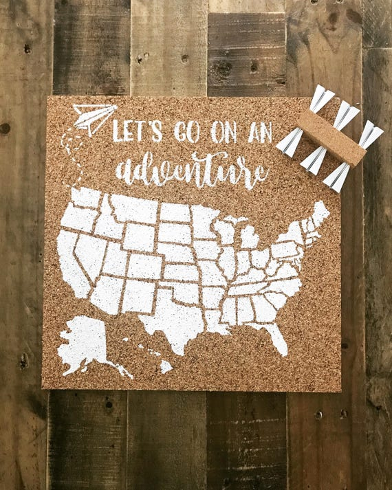 United States Corkboard Map Usa Cork Map Pin Board Gifts For Etsy