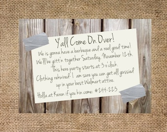 Redneck party invitation, personalized and printable, 5x7