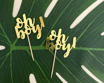 Baby Shower Decorations - OH BOY CUPCAKE toppers 12 per order - Baby shower Decoration - Baby Shower Cake topper - It's a boy shower- baby
