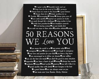 50th BIRTHDAY CANVAS 50 Years Birthday Mother Gift Canvas Father Friend