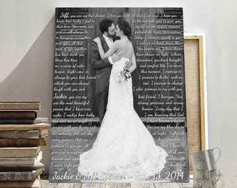Wedding anniversary gift, Photo with words, Personalized anniversary print, Wedding gift, Gift for her, Gift for him, Anniversary canvas