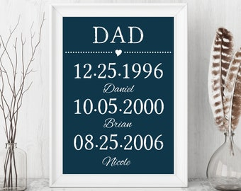 CUSTOM PRINTABLE DATES, Kids Birth Dates, Dad Kids Names, Birthday Father Gift, Birthday Dad Gift, Custom Printable Art, Dad Canvas Print