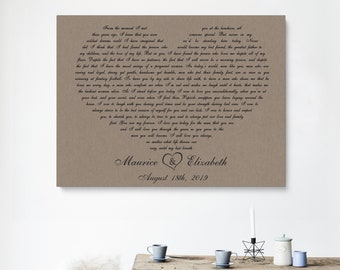 Personalised WEDDING Just Married Shabby Picture Print Gift Canvas Word Present