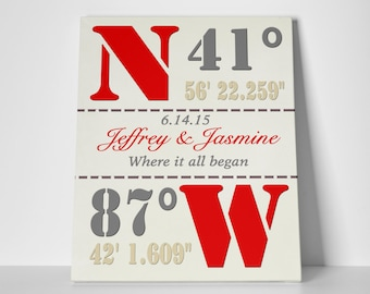Housewarming coordinates canvas, custom latitude canvas, custom longitude art, custom coordinates canvas, housewarming art print