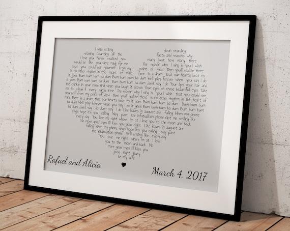 Any Song Lyrics Heart Lyrics Wall Art Wedding Song Heart | Etsy