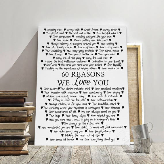 60 REASONS We Love You Birthday Gift For Mother