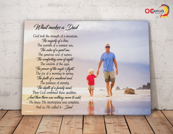 poetry canvas print poem on canvas walk with me daddy poem etsy