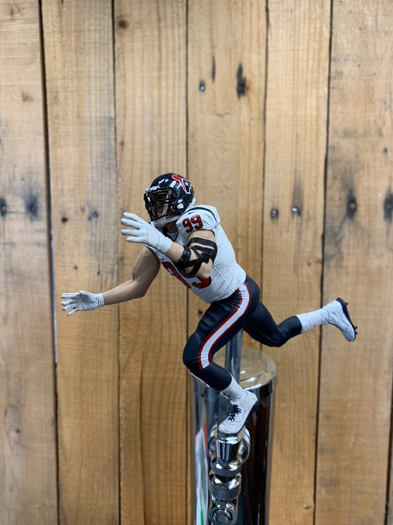 new product 9a89b f13c6 Houston Texans Tap Handle NFL Beer Keg Kegerator JJ Watt White Jersey