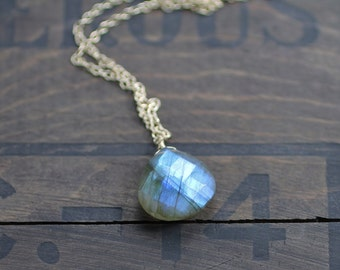 Labradorite Pendant Necklace in Sterling Silver or Yellow Gold Filled, Faceted Gemstone, Natural Blue Flash Labradorite Crystal Jewelry