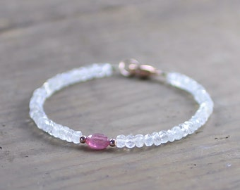 Moonstone & Pink Sapphire Bracelet in Sterling Silver, Yellow or Rose Gold Filled, September Birthstone Jewelry Pink White Gemstone Bracelet