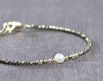 Pearl Birthstone Bracelet, June Birthstone Jewelry, Skinny Freshwater Pearl & Pyrite Beaded Gemstone Bracelet Sterling Silver or Gold Filled