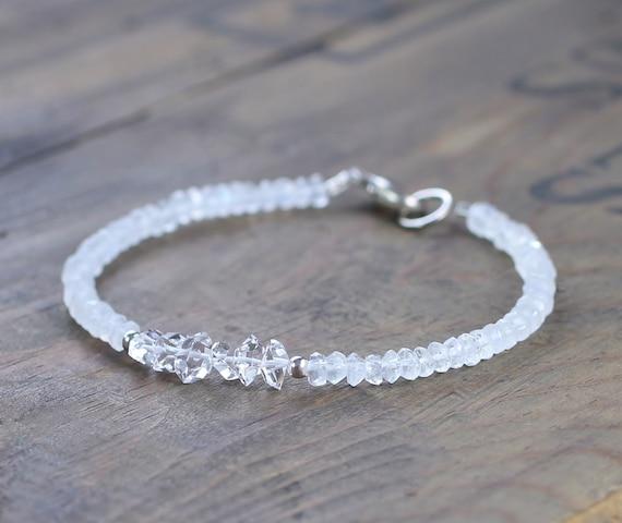 892dcebd929 Herkimer Diamond & Moonstone Beaded Bracelet April Birthstone   Etsy
