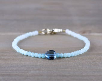 Ombre Amazonite & London Blue Topaz Bracelet in Sterling Silver, Yellow or Rose Gold Filled, Beaded Blue Gemstone Jewelry, Ombre Blue Stone