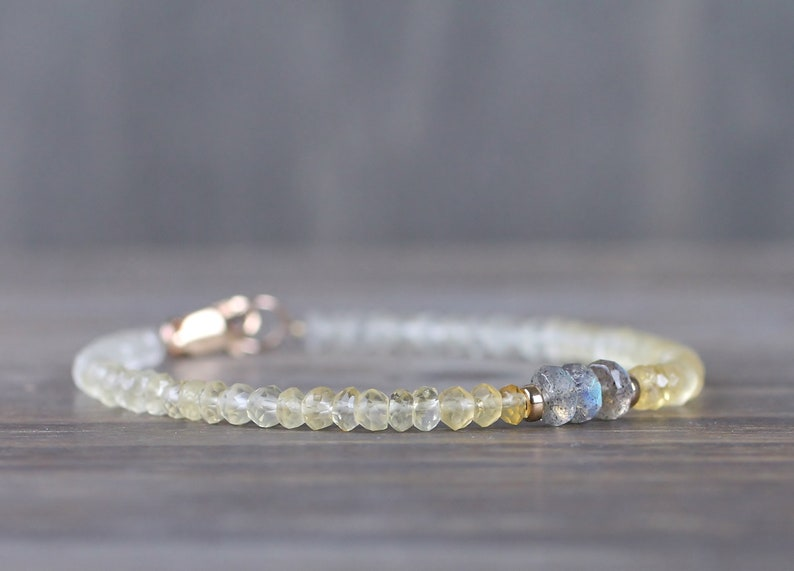 Sterling Silver or Gold Filled Yellow Grey Multi Gemstone Bracelet Shaded Citrine /& Labradorite Bracelet Delicate Ombre Citrine Bracelet