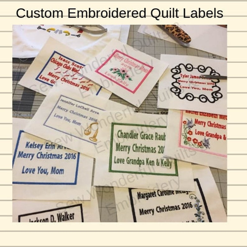 Custom Machined Embroidered Quilt Labels image 0