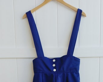 68f9d45f4e ILWGU 1975 vintage retro blue shorts overall with adjustable straps