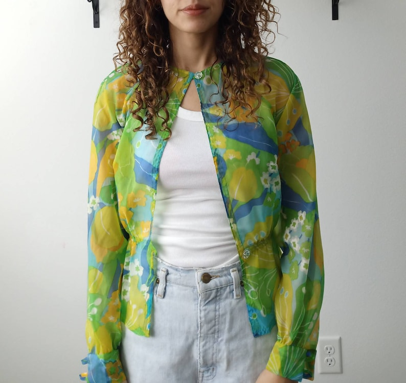 Vintage 80s twiggy MOD blouse cover up shirt long sleeve top green groovy hippie print