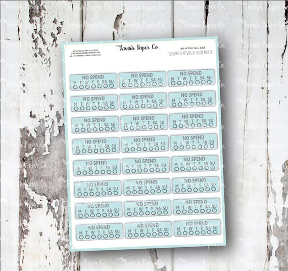 no spend tracker planner stickers budget sticker financial etsy