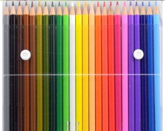 24pc Colored Pencil Set in Snap Storage Pouch Brilliant Colors