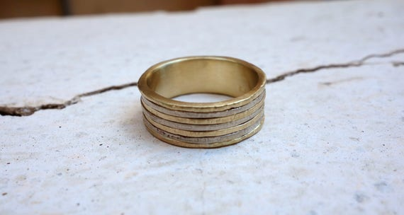 Mixed Metal Wedding Band His And Her S Wedding Band Etsy