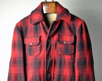 9b09aea80f654 Vintage 30s PROFILE by CARTER & CHURCHILL Co. Red/Black Shadow Plaid Button  Front Hunting Jacket Game Pocket Chamois Lined Size 42 L Large