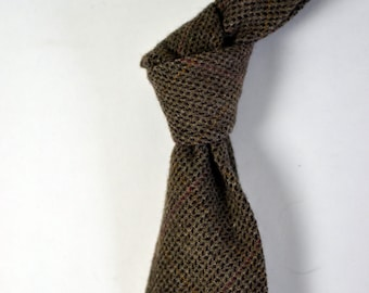 9d7526363b Vintage POLO RALPH LAUREN Brown Flecked Tie w. Subtle Red Orange Windowpane  Wool Made in U.S.A.