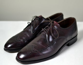"""Vintage WRIGHT """"The Breather"""" Burgundy Shortwing Wingtip Blind Brogue Blucher/Derby Size 8.5 E"""