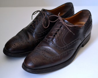 fd46daf36e81f Vintage BELFIORE DAL 1953 Brown Shortwing Brogue Oxfords Made by Hand In  Italy Dainite Sole Size 8