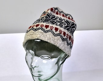 2781a84401adc Vintage L.L. BEAN Oatmeal w. Red Navy Fair Isle Knit Cap Toque Wool Blend  Made in USA