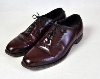a8a90d2be22 Vintage SEBAGO Burgundy Oxblood Cordovan Wholecut Plain Toe Oxfords Size 9 D B  Made in USA