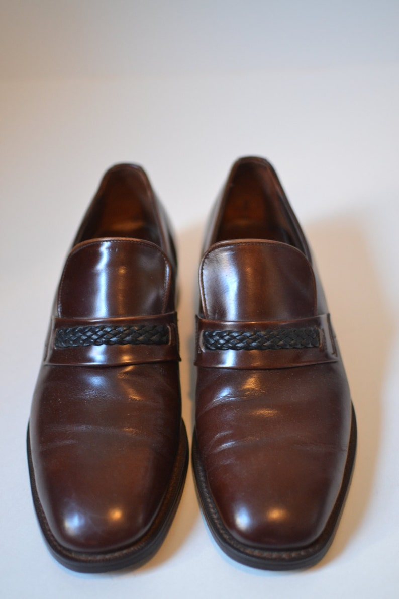 5a580c1ac29 Vintage WALK OVER Brown Braided Strap Loafer Size 8 D B Made