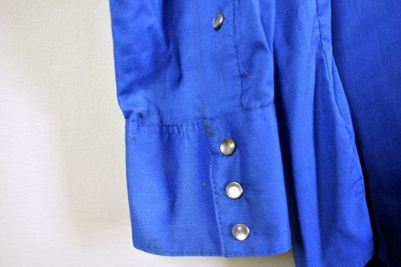 Vintage ROCKMOUNT RANCH WEAR Royal Blue Western Pearl Snap Shirt Western Yoke Tru-West Approximately Size L Large